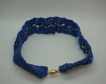 Choker, Blue with Multicolored Beads