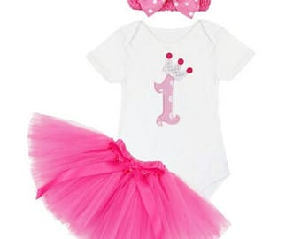 First Birthday,  First Birthday Outfit, First Birthday Pretty in Pink with Tutu and Headband