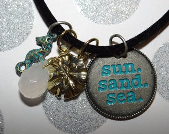 Beach Wear!  Beach Charms on Velvet Cord Necklace