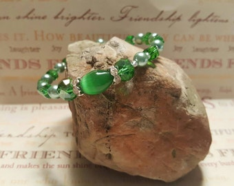 Emerald Green with Glass green Pearls