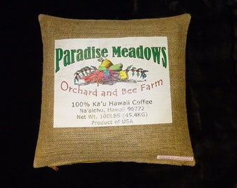 """Upcycling coffee bag cover, cushion """"Paradise"""", 40 x 40 cm"""