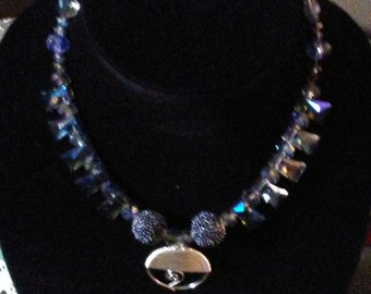 Blue wired beaded necklace