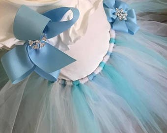 Blue & white Ice princess tutu outfit with matching hair bow