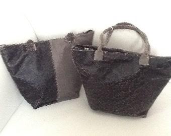 Handmade Grey and Black Faux snakeskin bucket handbag