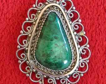 Malachite and Sterling Silver Filigree Brooch from Israel - Vintage