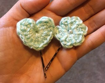 Mini Heart and Flower Bobby Pins