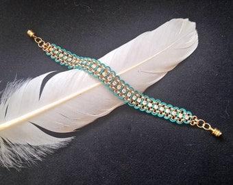 Turquoise leather and rhinestone bracelet