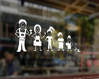 Family Stick Figure Dad Mom Children Vinyl Stickers Funny Decals Bumper Car Auto Computer Laptop Wall Window Glass Skateboard Snowboard