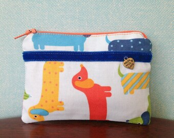 Handmade cotton coin purse - multi-coloured sausage dog print