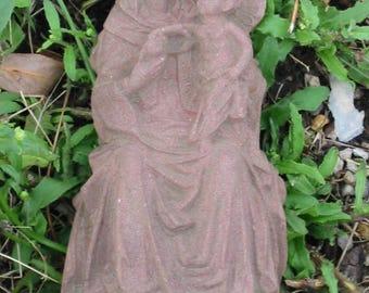 W 09 art antique sandstone look sculpture relief mural Maria mini