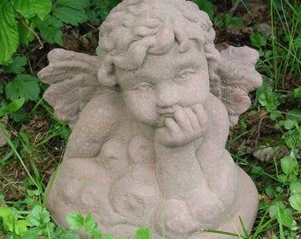 X 15 art antique sandstone look sculpture bust Angel clouds