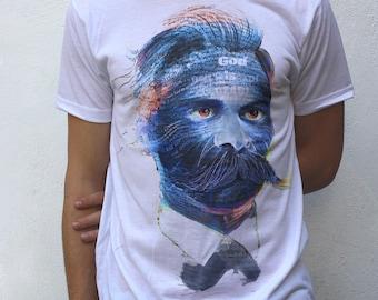 Friedrich Nietzsche T shirt, quotes portrait