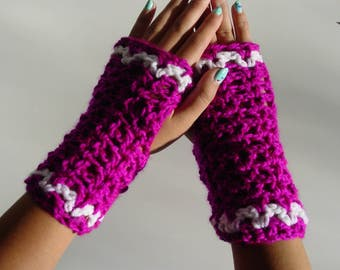 Childs crocheted wrist warmer, fingerless gloves, kids