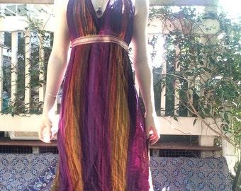 Colourful Striped Hippy Halter Sun Dress