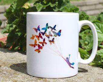 Man on Butterflies mug - Art Mug - Colorful printed mug - Tee mug - Coffee Mug - Gift Idea