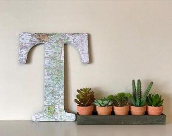 Atlas Letter Initial | Personalized Letter | Map Letter Block | Nursery Decor | Wall Art | Fireplace Decor | Gender Neutral Nursery Decor