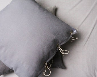 Cushion cover // Pillow Covers // Linen // Viscose // Pillow // Grey // Lilac // 50 x 50 cm