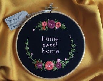 Home Sweet Home,Embroidery Hoop Art,Floral embroidery,Modern hand embroidery,Hand embroidery,Handmade Home Decor,Housewarming,Zezehandcraft