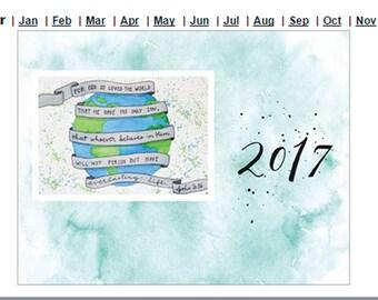 "Watercolor Calendar 8.5""x13"""