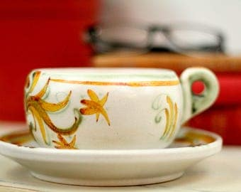 French vintage matching cup and plate/cup and saucer – Keraluc Quimper French Vintage G6 Pattern – Keralac ceramic – earthenware – retro