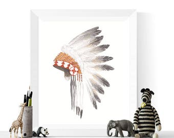 Native American Headdress Printable | Native Art | Native American Headdress | Feathers | Tribal Art | Headdress | Watercolor