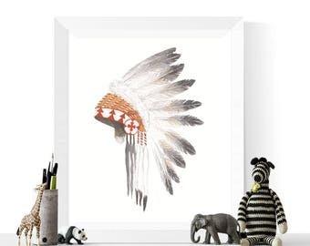 50% OFF Sale - Native American Headdress Printable | Native Art | Native American Headdress | Feathers | Tribal Art | Headdress | Watercolor