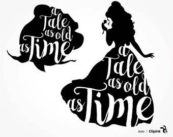 Tale as Old as Time svg, Belle clipart, Beauty and the Beast svg, rose, Belle svg silhouette, eps, png, dxf, pdf. Cut Print Mug Shirt Decal