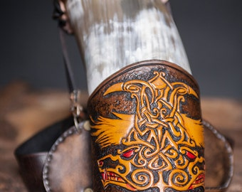 Drinking Horn with tooled horn holder and belt.