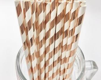 Rose Gold Foil Stripe Paper Straws