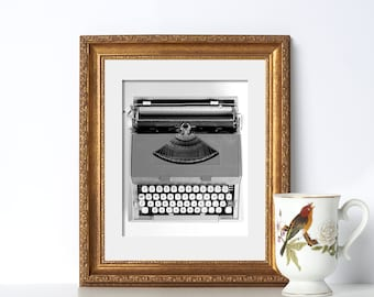 B+W Typewriter Digital Download Printable Art Typewriter Print Gifts for Authors Gift for Writers Typewriter Art Home Office Decor Classroom