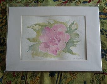 Pink Rose.  An original watercolour painting by L C Martin
