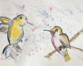 Hummingbirds hand painted watercolor