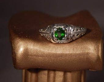 Ladies .38 Ct.Oval Tsavorite Garnet Ring Sterling Silver 1920's Filigree Style