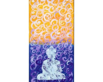Purple and Yellow World with White Buddha Painting