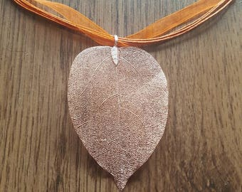 Copper Plated Leaf Necklace