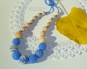 Necklace from breastfeeding and babywearing blue, breastfeeding, baby teething necklace necklace