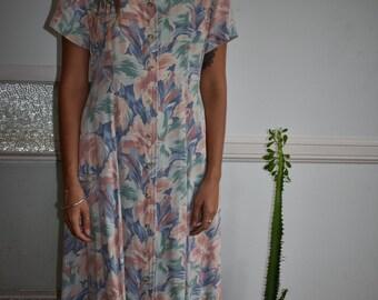 Vintage floral midi/maxi pastel dress