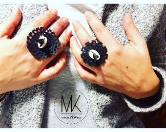 """UPCYCLING # ring """"lace"""" - inner tube - France"""