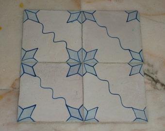 Set of 4 portuguese ceramic tiles, authentic 19th century, hand-painted majolica