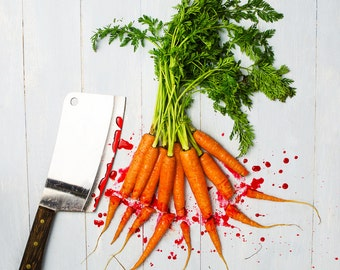 Food Art Photography, Kitchen Art, Chopping Carrots square photography print - Original fine art photography by Cath Lowe