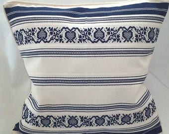 Hungarian Pillow Cover-Folk Pillow- Off white Ethnic pillow cover- Blue embroidered- woven piped pillow cushion-cross stich flower motif