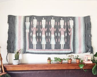 Vintage Navajo Woven Wool Rug / Wall Tapestry / Southwestern Wall Hanging