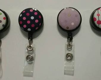 Polka Dot Retractable ID Badge Reels