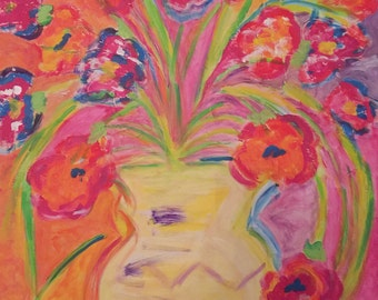 Red Poppies in Yellow Vase