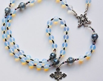 Large Unique  Ave Maria Genuine Moonstone & Crystal Miraculous Rosary