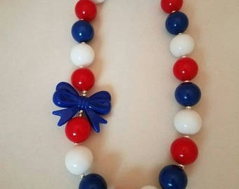 Bubblegum necklace, 4th of July, toddler, necklace