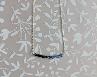 Blue Sapphire Ombre Beaded Bar Necklace, Sterling Silver Sapphire Necklace, Blue Ombre Necklace, Something Blue, Everyday Sapphire Jewelry