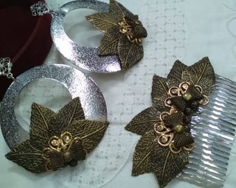 Earrings & Flamenco Peinecillo, Party, Silver & Gold old, Mother's Day, Lady Gift
