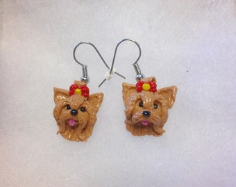 PolymerClay Hand made Yorkshire puppy cutiest earrings-Dog Lovers-Pet Lovers-Yorkie Lovers-Cute earrings-Order