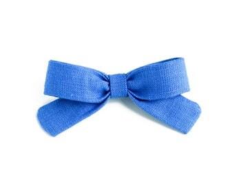 Little Lou | Marina Blue | Linen Baby Headbands & Bows